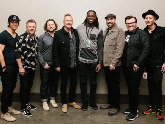 Pictured backstage at the Georgia Dome (l-r): NewSong's Matt Butler, Jack Pumphrey, Mark Clay and Eddie Carswell; Kanas City Chiefs wide receiver Chris Conley; and NewSong's Billy Goodwin, Russ Lee and Rico Thomas. (photo: Sterling Graves)